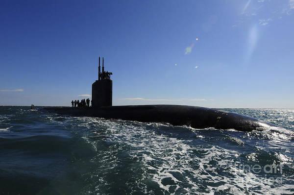 Photograph - Attack Submarine Uss Scranton Pulls by Stocktrek Images