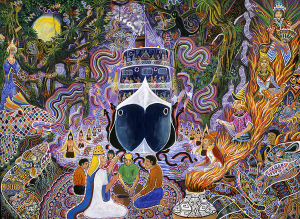 Art Print featuring the painting Atun Supay Lancha by Pablo Amaringo