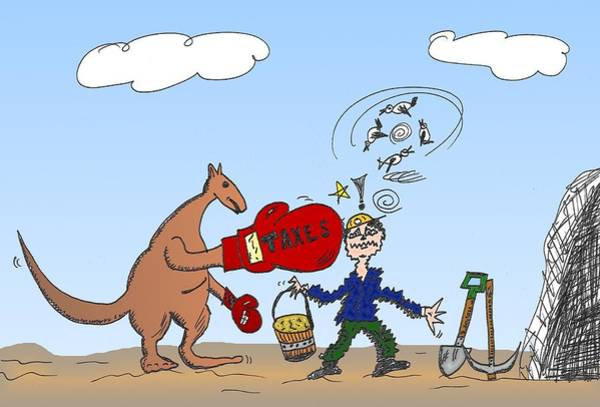 Options Drawing - Aus Mining Industry Tax Caricature by OptionsClick BlogArt