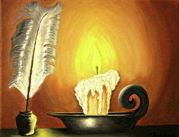 Inkwell Painting - Author's Light by Victoria Rhodehouse