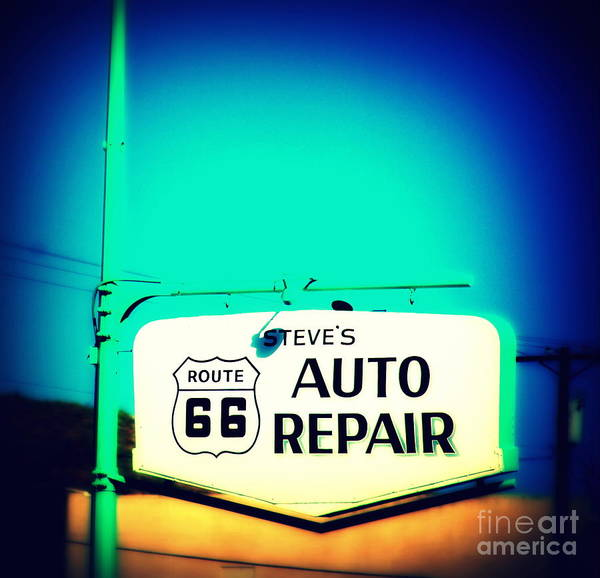 Photograph - Auto Repair Sign On Route 66 by Susanne Van Hulst