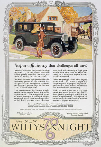 Photograph - Automobile Ad, 1926 by Granger