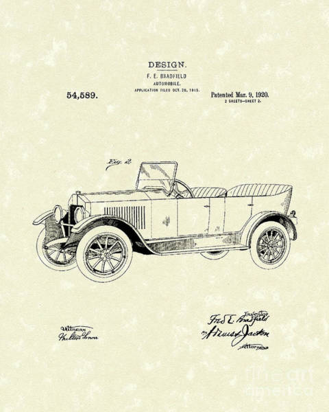Vehicle Drawing - Automobile Bradfield 1920 Patent Art  by Prior Art Design