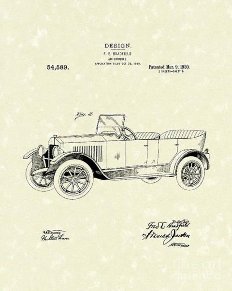 Wall Art - Drawing - Automobile Bradfield 1920 Patent Art  by Prior Art Design