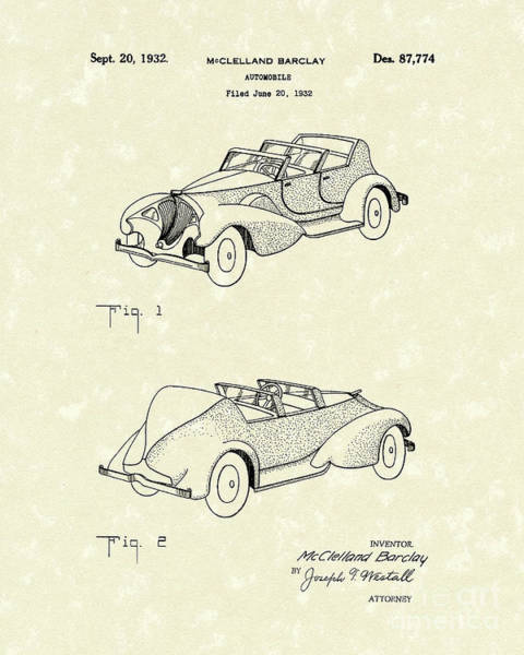 Vehicle Drawing - Automobile Mccelland Barclay 1932 Patent Art by Prior Art Design