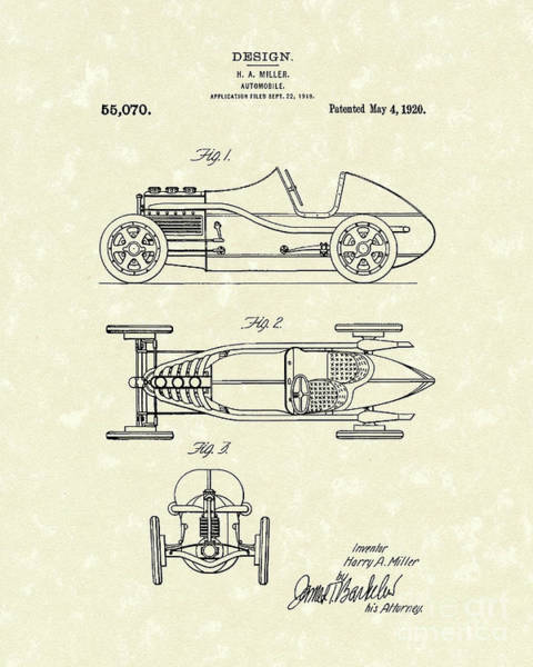 Vehicle Drawing - Automobile Miller 1920 Patent Art by Prior Art Design