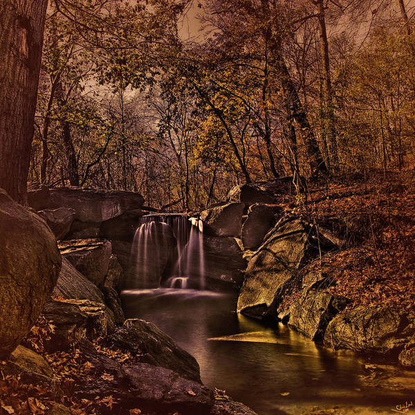 Digital Art - Autumn At The Waterfall In The Ravine In Central Park by Chris Lord