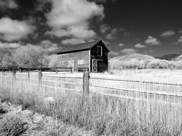 Photograph - Autumn Barn Black And White One by Joshua House