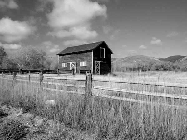 Photograph - Autumn Barn Black And White Three by Joshua House