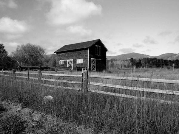 Photograph - Autumn Barn Black And White Two by Joshua House