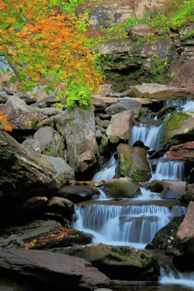 Catskills Photograph - Autumn Cascade by Rick Berk