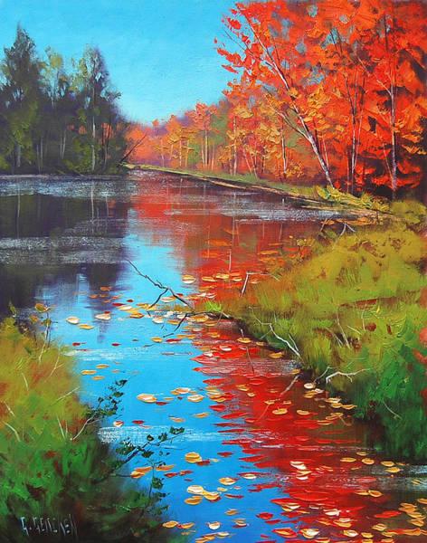 Realist Painting - Autumn Fire by Graham Gercken