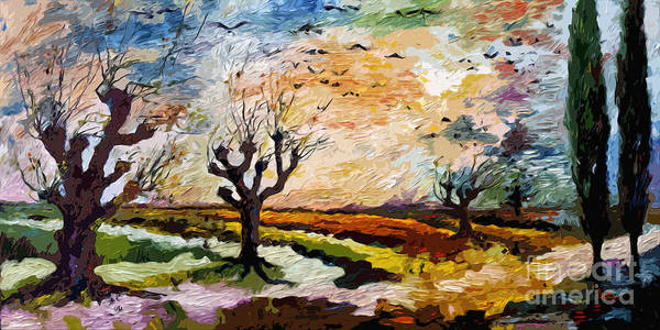 Painting - Autumn Migration Panoramic Landscape by Ginette Callaway