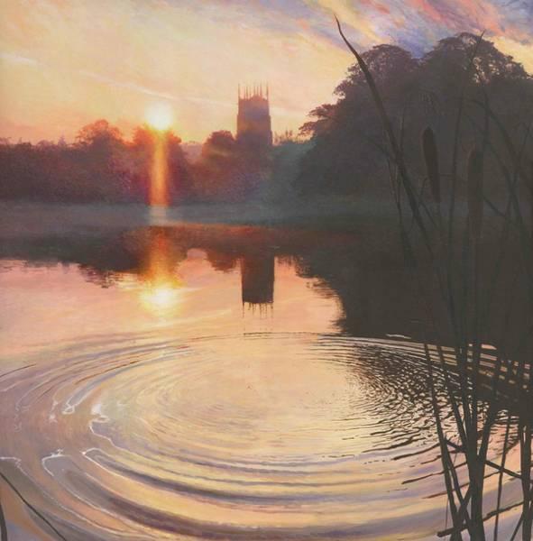 Bullrush Painting - Autumn Morning Lymm Dam by Helen Parsley