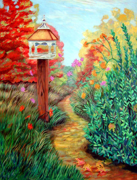 Birdhouse Painting - Autumn Path by Lyn Cook