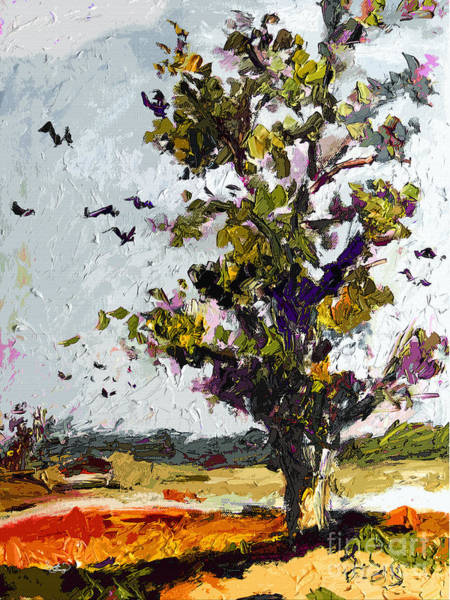 Painting - Autumn Tree Bird Migration Modern Art by Ginette Callaway