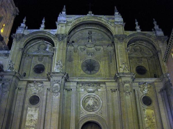 Photograph - Avemaria Cathedral Facade At Night Granada Spain by John Shiron