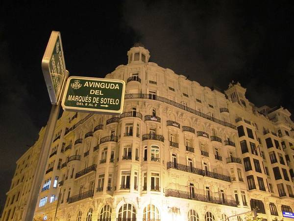 Photograph - Avinguda Del Marques De Sotelo Valencia At Night In Spain by John Shiron