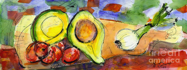 Painting - Avocado And Onions Vegetable Still Life by Ginette Callaway