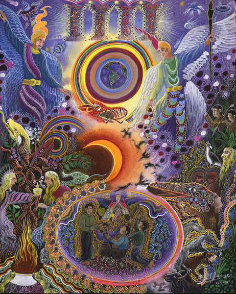 Art Print featuring the painting Ayahuasca Raura  by Pablo Amaringo