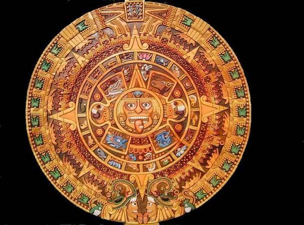 Acrilic Painting - Aztec Calendar by Eduardo Paz