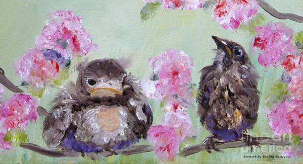 Wall Art - Painting - Baby Bluebirds by Pauline Ross
