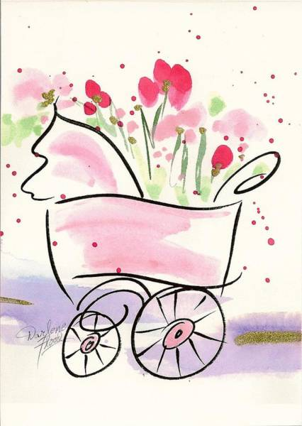 Wall Art - Drawing - Baby Buggy Note Card by Darlene Flood
