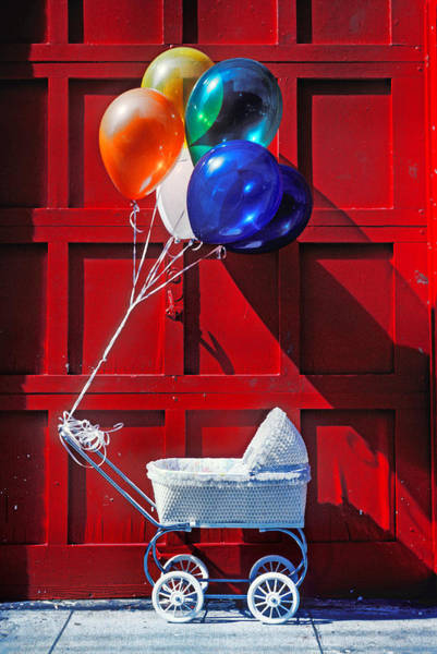 Baby Photograph - Baby Buggy With Balloons  by Garry Gay