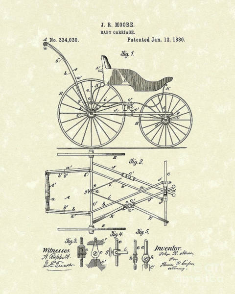Transport Drawing - Baby Carriage 1886 Patent Art by Prior Art Design