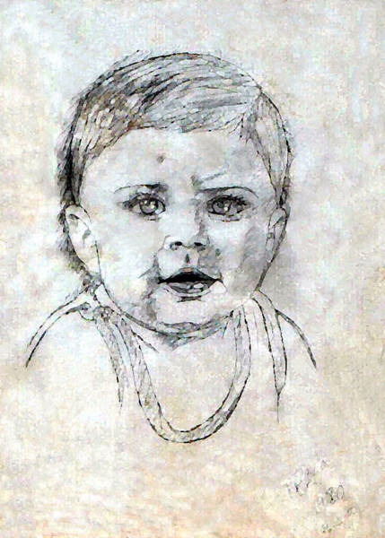 Drawing - Baby Portrait  by Madalena Lobao-Tello