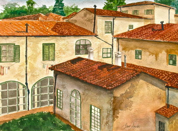 Back Door Painting - Back Yard by Frank SantAgata