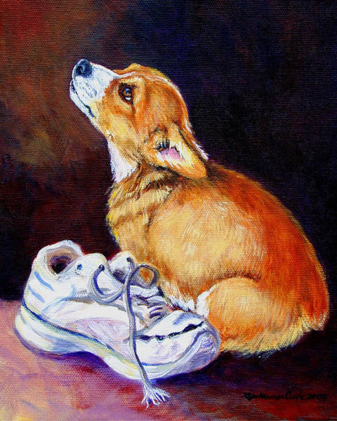 Welsh Painting - Bad Puppy Pembroke Welsh Corgi by Lyn Cook