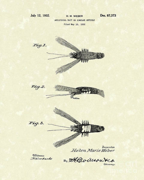 Fishing Drawing - Bait 1932 Patent Art by Prior Art Design