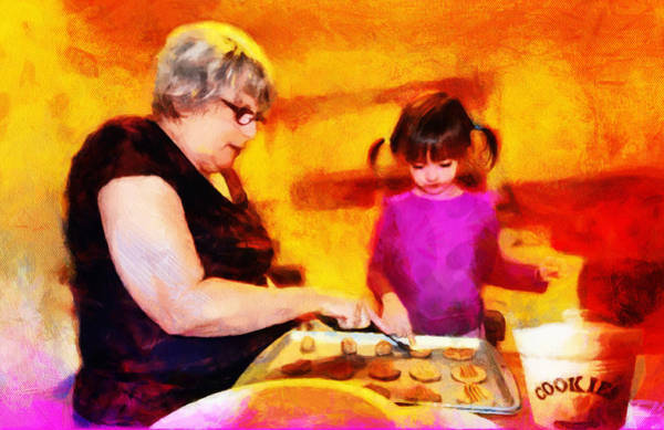 Child Mixed Media - Baking Cookies With Grandma by Nikki Marie Smith