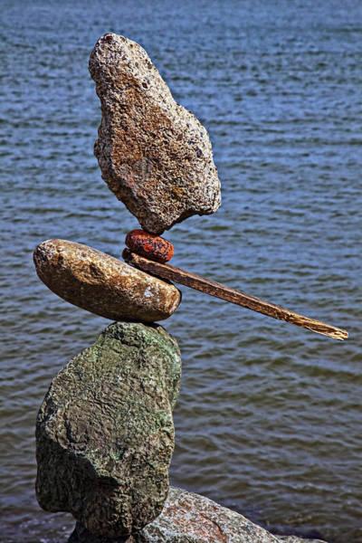Balancing Rocks Photograph - Balanced Stones by Garry Gay