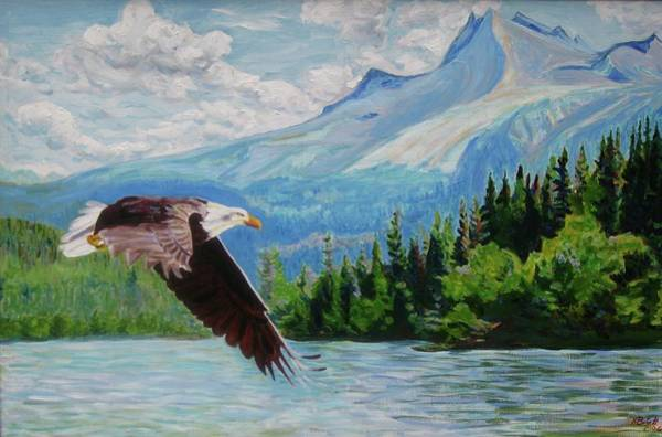 Painting - Bald Eagle Fishing by Nicolas Bouteneff