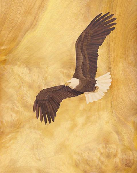 Bald Mixed Media - Bald Eagle Wood Art by Vincent Doan