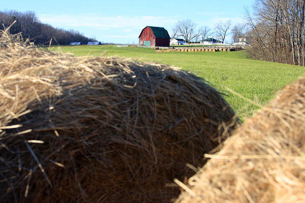Photograph - Bales Of Hay And Red Barn by Emanuel Tanjala