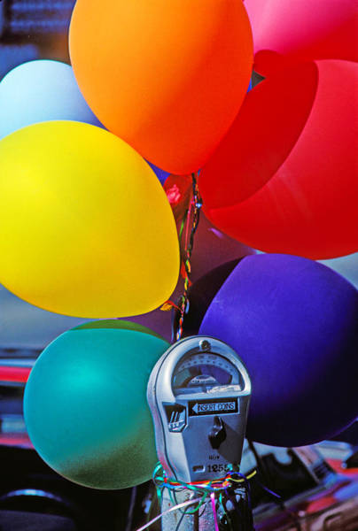 Parking Photograph - Balloons Tied To Parking Meter by Garry Gay