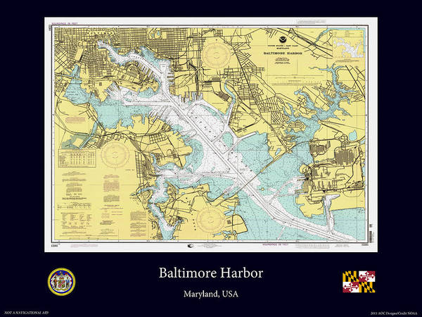 Noaa Chart Wall Art - Photograph - Baltimore Harbor by Adelaide Images