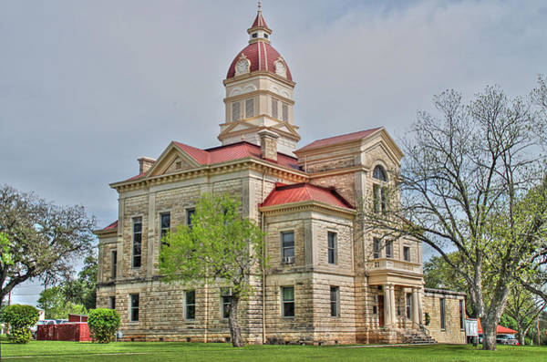 Photograph - Bandera County Courthouse In Hdr by Sarah Broadmeadow-Thomas