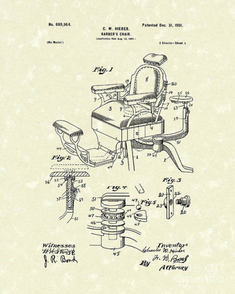 Drawing - Barber's Chair 1901 Patent Art by Prior Art Design