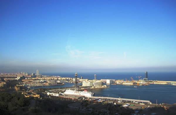 Photograph - Barcelona Harbor Marina View II Cruise Ship In Spain by John Shiron