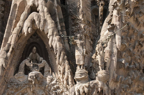 Photograph - Barcelona Sagrada Familia Nativity Facade Detail by Matthias Hauser