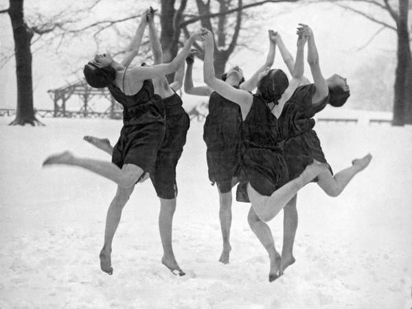 Joyous Photograph - Barefoot Dance In The Snow by Underwood Archives
