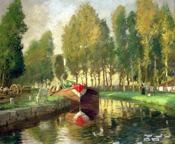 Charles River Wall Art - Painting - Barge On A River Normandy by Rupert Charles Wolston Bunny