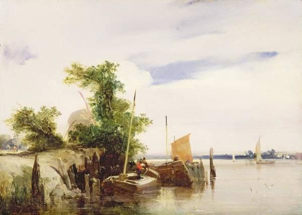 Dinghies Photograph - Barges On A River by Richard Parkes Bonington
