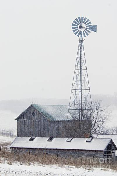 Photograph - Barn And Windmill In Snow by Larry Ricker