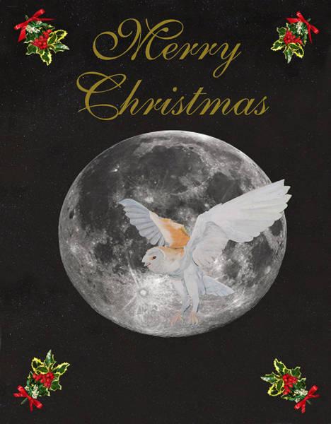 Mixed Media - Barn Owl Merry Christmas by Eric Kempson