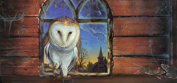 Barn Owl Mixed Media - Barn Owls Finds A Home by Anne Wertheim
